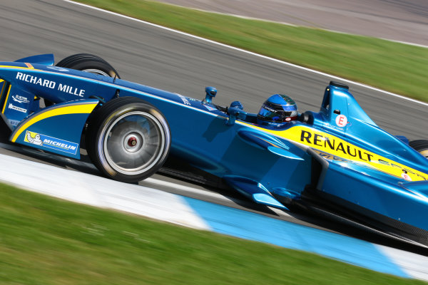 FIA Formula E Test Day, Donington Park, UK.  19th August 2014. Nicolas Prost, e.dams. Photo: Malcolm Griffiths/FIA Formula E ref: Digital Image F80P9735