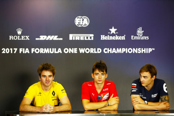 Hungaroring, Budapest, Hungary. Friday 28 July 2017 Charles Leclerc (MCO, PREMA Racing).Oliver Rowland (GBR, DAMS).Artem Markelov (RUS, RUSSIAN TIME). Photo: Mauger/FIA Formula 2 ref: Digital Image _ONY0632