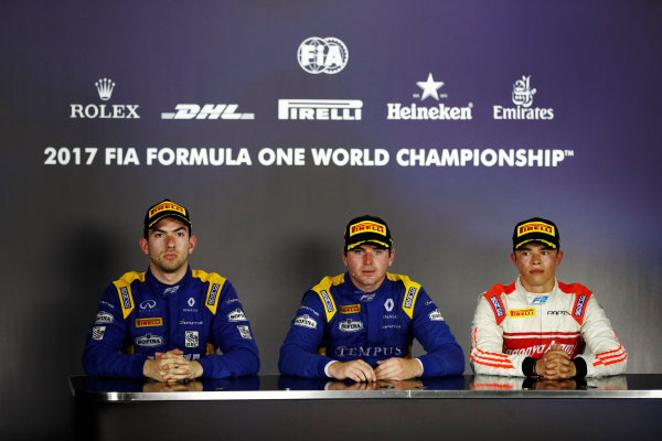 Hungaroring, Budapest, Hungary.  Saturday 29 July 2017. The feature race F2 press conference. L-R: Nicholas Latifi (CAN, DAMS) 2nd, race winner Oliver Rowland (GBR, DAMS), and Nyck De Vries (NED, Rapax), 3rd. World Copyright: Glenn Dunbar/FIA Formula 2 Media Service.  ref: Digital Image _X4I0033