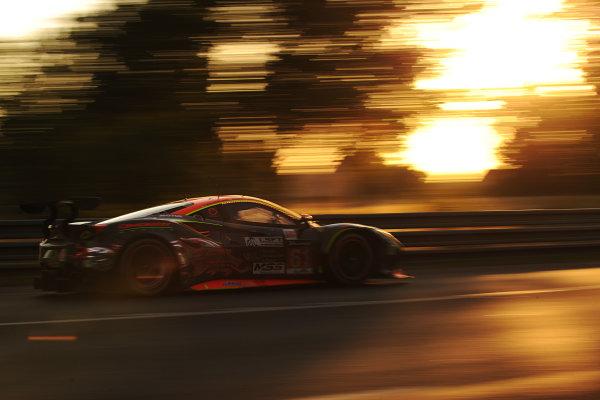 2017 Le Mans 24 Hours Circuit de la Sarthe, Le Mans, France. Sunday 18th  June 2017 #61 Clearwater Racing Ferrari 488 GTE: Weng Sun Mok, Keita Sawa, Matt Griffin  World Copyright: JEP/LAT Images