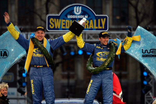 2005 FIA World Rally Champs. Round two Swedish Rally.10th-13th February 2005.Petter Solberg, Subaru, podium.World Copyright: McKlein/LAT