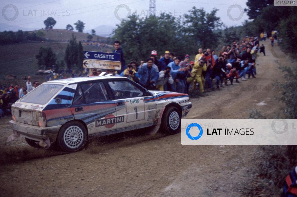 1988 World Rally Championship. Sanremo Rally Miki Biasion (Lancia Delta) 1st Position. World Copyright:LAT Photographic Ref:35mm Image