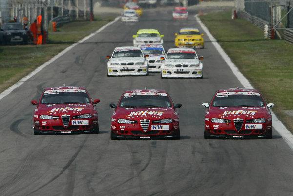 2004 European Touring Car ChampionshipMonza, Italy. 27th - 28th March 2004.Augusto Farfus (Alfa Romeo 156 S2000), leads team mates Gabriele Tarquini and Fabrizio Giovanardi, action.World Copyright: Photo4/LAT Photographiref: Digital Image Only