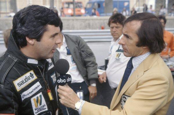 1981 Monaco Grand Prix.Monte Carlo, Monaco. 28-31 May 1981.Jackie Stewart interviews Alan Jones (Williams FW07C-Ford Cosworth) for ABC Television. Portrait.World Copyright: LAT PhotographicRef: 35mm transparency 81MON54