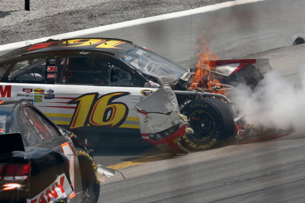 27-29 June, 2013, Sparta, Kentucky, USA Greg Biffle on fire after crash © 2013, Michael L. Levitt LAT Photo USA.