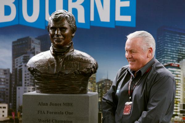 Albert Park, Melbourne, Australia Sunday 17th March 2013 Alan Jones with his commemorative bronze busts. World Copyright: Charles Coates/  ref: Digital Image _N7T6446