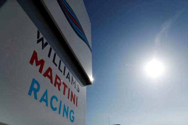 Circuit de Barcelona Catalunya, Barcelona, Spain. Friday 10 March 2017. The Williams Martini Racing team's motorhome. World Copyright: Glenn Dunbar/LAT Images ref: Digital Image _X4I6902