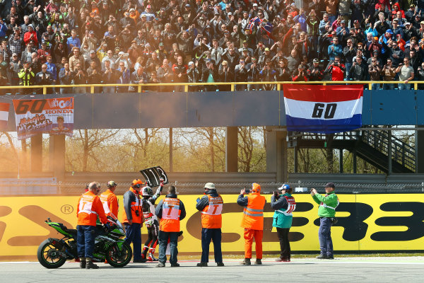 2017 Superbike World Championship - Round 4 Assen, Netherlands. Sunday 30 April 2017 Race winner Jonathan Rea, Kawasaki Racing World Copyright: Gold and Goose Photography/LAT Images ref: Digital Image WSBK-1229