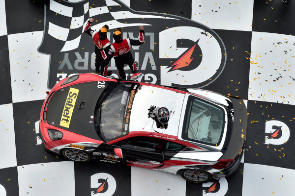 IMSA Continental Tire SportsCar Challenge BMW Endurance Challenge at Daytona Daytona Beach, Florida, USA Friday 26 January 2018 #28 RS1, Porsche Cayman GT4 MR, GS: Dillon Machavern, Spencer Pumpelly in victory lane celebrating the win World Copyright: Scott R LePage LAT Images  ref: Digital Image _SRL1002