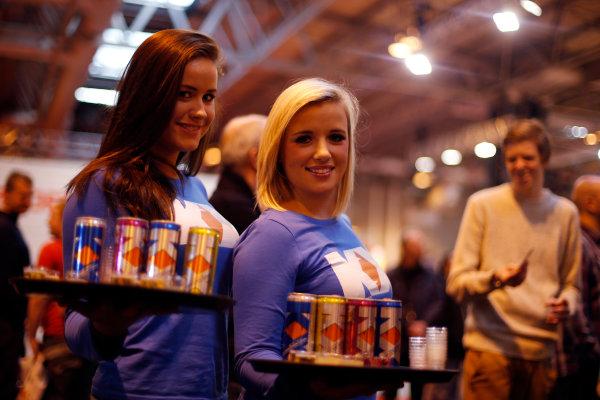 Autosport International Show NEC, Birmingham.  Sunday 13th January 2013. KX drinks on offer to smaple. World Copyright:Glenn Dunbar/LAT Photographic ref: Digital Image _89P4670