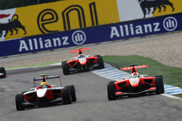 Race winner Esteban Gutierrez (MEX) ART Grand Prix (Left) passed Daniel Juncadella (ESP) Tech 1 Racing for the lead of the race.