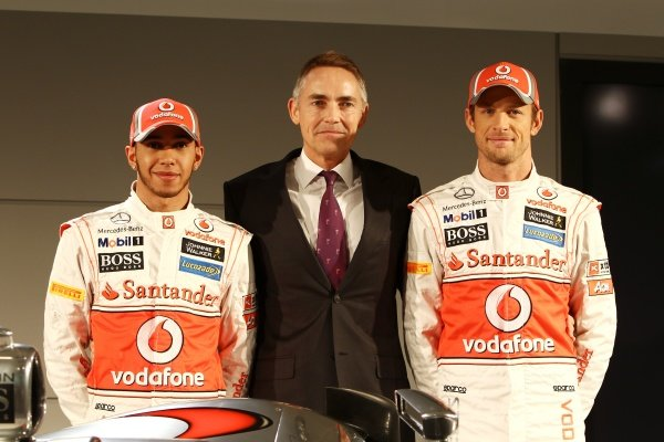 (L to R): Lewis Hamilton (GBR) McLaren with Martin Whitmarsh (GBR) McLaren Chief Executive Officer and Jenson Button (GBR) McLaren. McLaren MP4-27 Launch, McLaren Technology Centre, Woking, England, 1 February 2012.