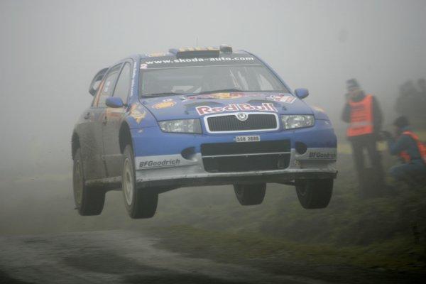 2006 World Rally Championship.Round 16. Wales Rally GB. 1st - 3rd December 2006.Harri Rovanpera/Risto Pietilainen, Fabia WRC over a jump. Action.World Copyright: Alastair Staley/LAT Photographic.ref: Digital Image _F6E7462