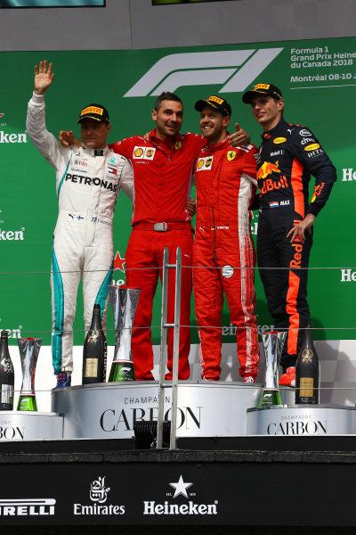 Valtteri Bottas (FIN) Mercedes-AMG F1, Sebastian Vettel (GER) Ferrari and Max Verstappen (NED) Red Bull Racing celebrate on the podium .