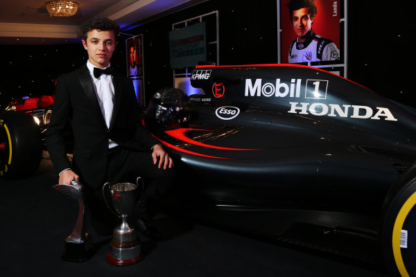 2016 Autosport Awards. Grosvenor House Hotel, Park Lane, London. Sunday 4 December 2016.  Lando Norris, Winner of the Young Driver of the Year Award.  World Copyright: /LAT Photographic. ref: Digital Image JL1_9620