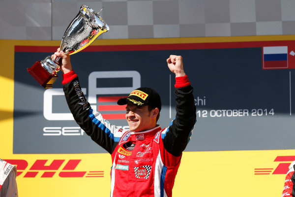 2014 GP3 Series. Round 8.   Sochi Autodrom, Sochi, Russia. Sunday Race 2 Sunday 12 October 2014. Patric Niederhauser (SUI, Arden International) on the podium. Photo: Alastair Staley/GP3 Series Media Service. ref: Digital Image _79P5791