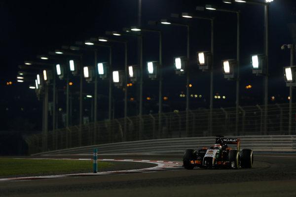 Yas Marina Circuit, Abu Dhabi, United Arab Emirates. Sunday 23 November 2014. Nico Hulkenberg, Force India VJM07 Mercedes. World Copyright: Andrew Ferraro/LAT Photographic. ref: Digital Image _FER1387