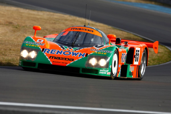 Circuit de La Sarthe, Le Mans, France. 5th - 12th June 2011. The 1991 Le Mans winning Mazda 787B is given a run around the circuit. Action. Photo: Alastair Staley/LAT Photographic. ref: Digital Image AS5D9140