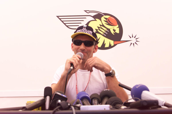 1999 French Grand Prix.Magny-Cours, France.25-27 June 1999. Damon Hill (Jordan Mugen Honda) tells the World's press about his retirement decision.World Copyright - Lawrence/LAT Photographic