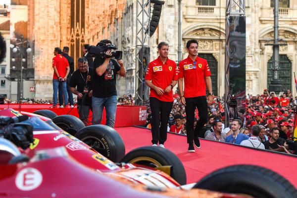Sebastian Vettel, Ferrari and Charles Leclerc, Ferrari walk along the stage