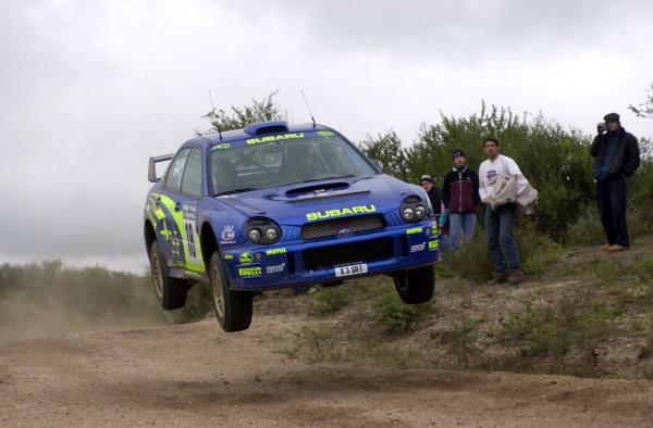 2001 World Rally Championship. ArgentinaMay 3rd-6th, 2001Toshihiro Arai jumps on stage five.Photo: Ralph Hardwick/LAT