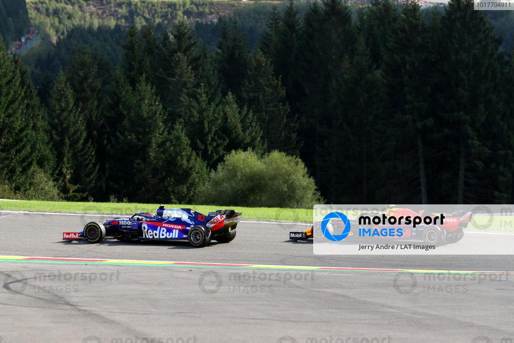 Pierre Gasly, Toro Rosso STR14, leads Alexander Albon, Red Bull RB15