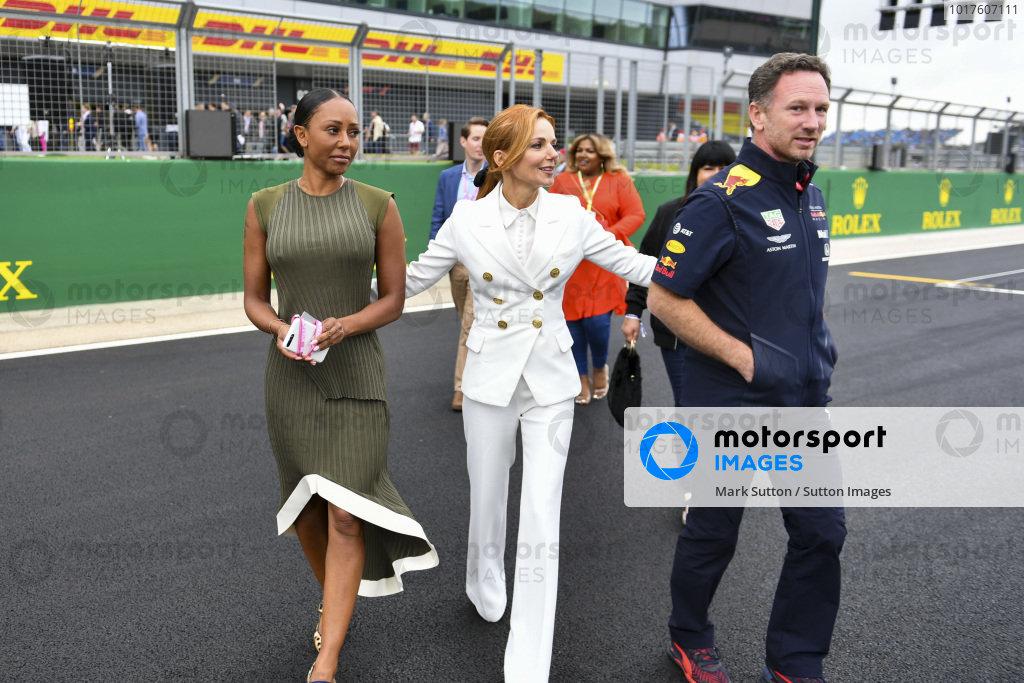 Melanie C, Geri Horner and Christian Horner, Team Principal, Red Bull Racing