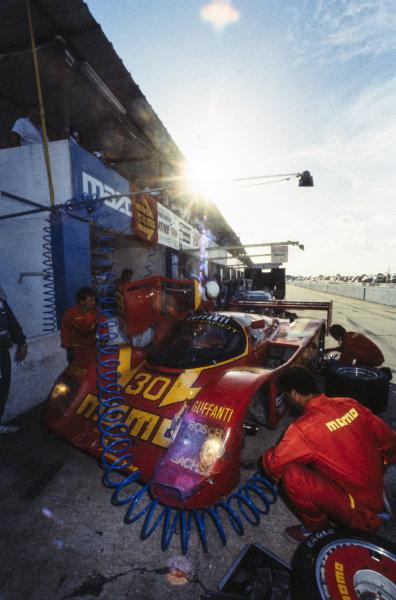 Massimo Sigala / Gianpiero Moretti / Michael Roe / Derek Bell, Momo/Gebhardt Racing, Porsche 962, makes a pitstop.