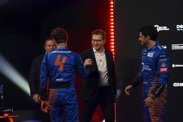 Zak Brown, Executive Director, McLaren, Andreas Seidl, Team Principal, McLaren, Lando Norris, McLaren and Carlos Sainz Jr, McLaren, on stage at the launch of the McLaren MCL35