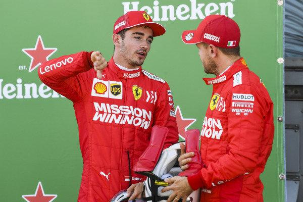 Front row starters Charles Leclerc, Ferrari, and pole man Sebastian Vettel, Ferrari, after Qualifying