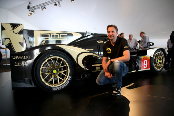 Christijan Albers (NED) at the official unveiling of the all new Lotus T129 LMP1 prototype car at the Innovation Centre. The Kodewa Racing Team are now hopeful of having the car ready for the fifth round of the WEC: the 6 Hours of Circuit of the Americas in Austin, Texas on 20 September 2014.