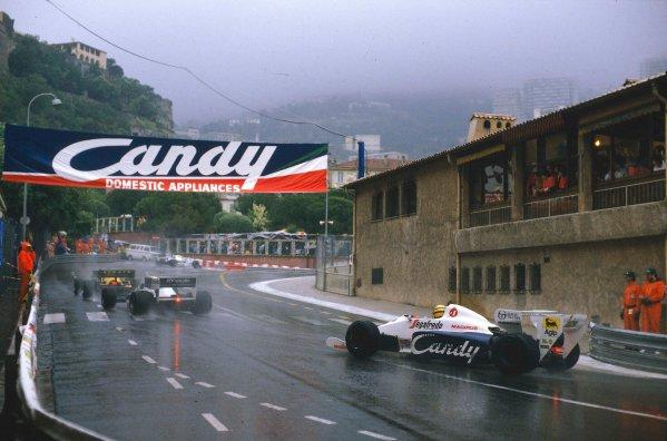 1984 Monaco Grand Prix.Monte Carlo, Monaco.31/5-3/6 1984.Ayrton Senna (Toleman TG184 Hart) 2nd position, at Rascasse.Ref-84 MON 53.World Copyright - LAT Photographic