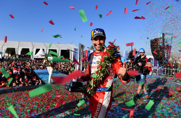 Jérôme d'Ambrosio (BEL), Mahindra Racing, 1st position, celebrates on the podium