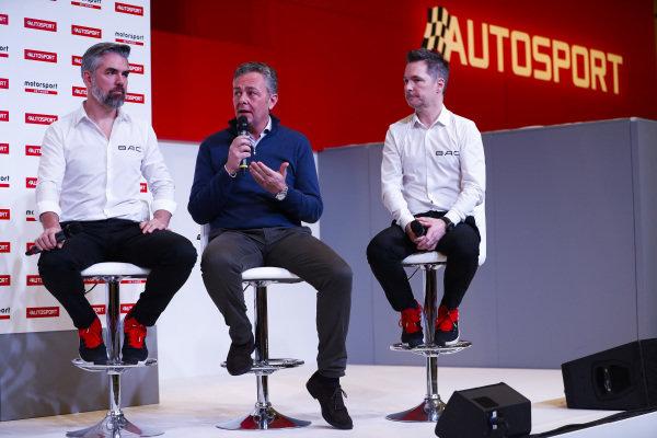 BAC Mono representatives and Mario Isola of Pirelli talk on the Autosport Stage.