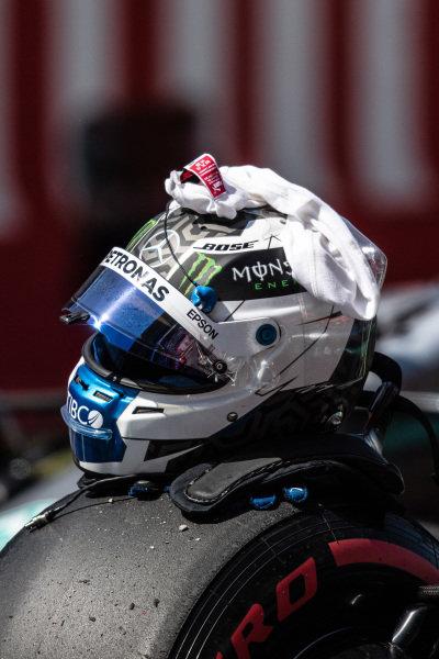 The helmet of pole man Valtteri Bottas, Mercedes AMG F1