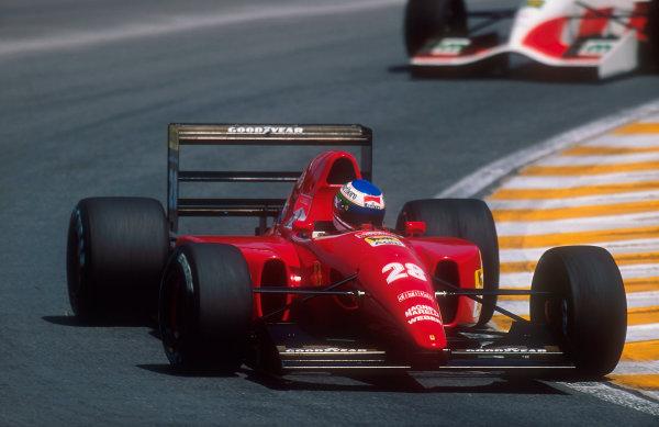 1992 Brazilian Grand Prix.Interlagos, Sao Paulo, Brazil.3-5 April 1992.Ivan Capelli (Ferrari F92A) 5th position.Ref-92 BRA 02.World Copyright - LAT Photographic