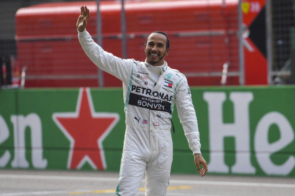 Lewis Hamilton, Mercedes AMG F1, 1st position, celebrates with the crowd after the race