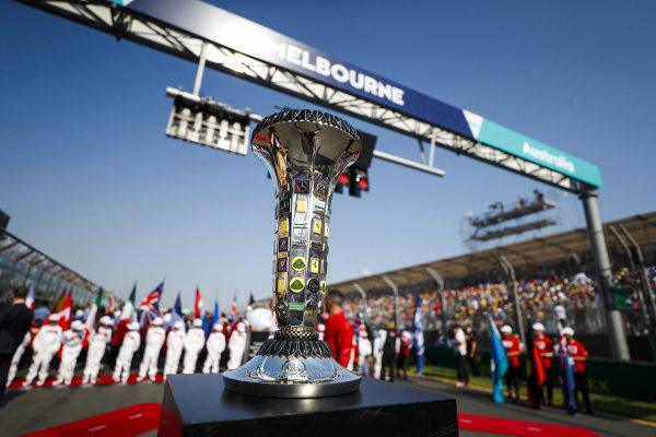 The Constructors trophy on the grid prior to the start