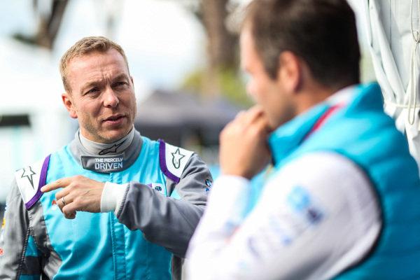 Olympic gold medalist Sir Chris Hoy, prepares to drive the Formula E track car