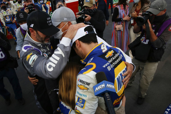 #9: Chase Elliott, Hendrick Motorsports, Chevrolet Camaro NAPA Auto Parts, celebrates after winning the 2020 Nascar Cup Series Championship, #48: Jimmie Johnson, Hendrick Motorsports, Chevrolet Camaro Ally, Rick Hendrick