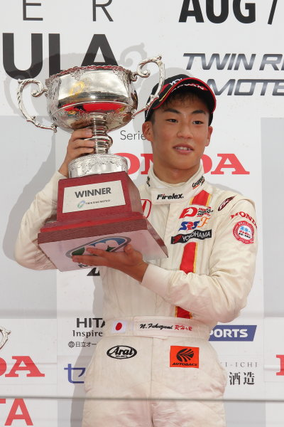 2015 Japanese Formula 3 Championship. Motegi, Japan. 22nd - 23rd August 2015. Rd 14 & 15.. Winner Nirei Fukuzumi ( #7 HFDP RACING F312 ) podium, portrait.   World Copyright: Yasushi IshiharaLAT Photographic. Ref: 2015JF3_Rd14&15_005
