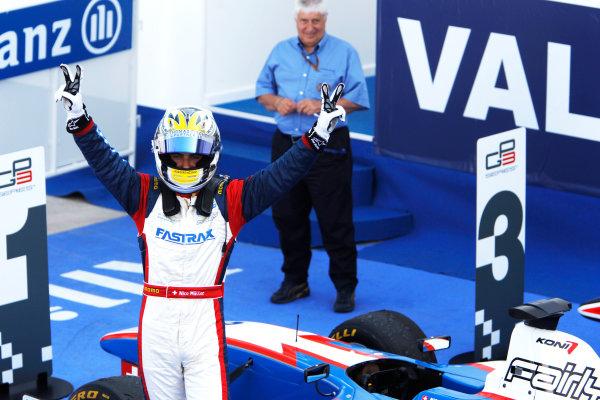 Round 3. Valencia, Spain. 27th June 2010.Sunday Race.Nico Muller, (Sui, Jenzer Motorsport) celebrates victory in parc ferme. Portrait.  World Copyright: Glenn Dunbar/GP3 Media Service.Digital Image _G7C0736