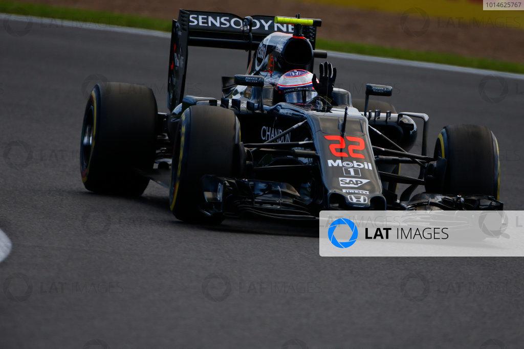 Silverstone, Northamptonshire, UK Friday 8 July 2016. Jenson Button, McLaren MP4-31 Honda, waves to the fans. World Copyright: Hone/LAT Photographic ref: Digital Image _ONY8045