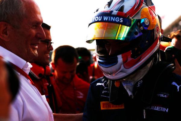 Pierre Gasly (FRA, PREMA, Racing) with Dr. Helmut Marko 2016 GP2 Series Round 6 Hungaroring, Budapest, Hungary Saturday 23 July 2016  Photo: /GP2 Series Media Service ref: Digital Image _ONZ3488