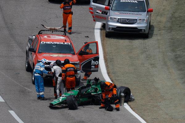 10-11 June, 2016, Fort Worth, Texas, USA Josef Newgarden gets out of his car after crash ?2016, Michael L. Levitt LAT Photo USA