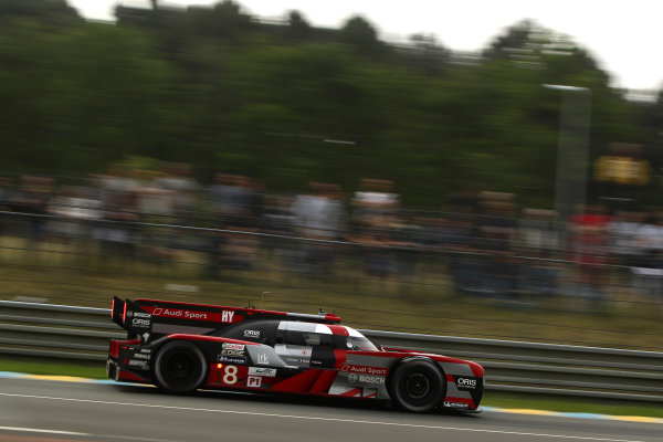 2016 Le Mans 24 Hours Test day, Le Mans, France. 5th June 2016. Lucas di Grassi / Loic Duval / Oliver Jarvis - Audi Sport Team Joest Audi R18. World Copyright: Ebrey / LAT Photographic.