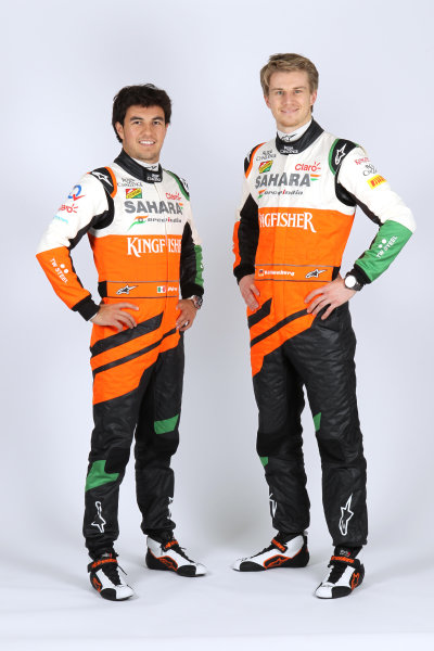 Force India VJM07 Online Launch Images 23 January 2014 Sergio Perez & Nico Hulkenberg, Force India Photo: Force India (Copyright Free FOR EDITORIAL USE ONLY) ref: Digital Image jm1423ja75