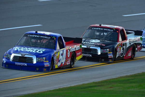 October 18-19, 2013, Talladega, Alabama USA Darrell Wallace Jr and Kyle Busch trucks © 2013, Brian Czobat LAT Photo USA