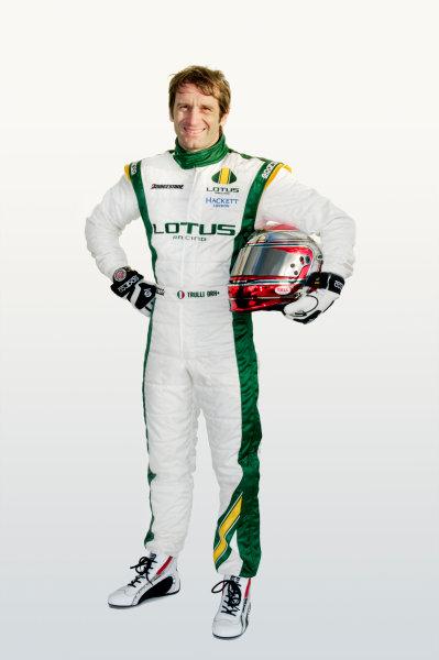 February 2010.Jarno Trulli, Lotus T127 Cosworth. Portrait.Photo: Copyright Free - Lotus F1ref: Digital Image Jarno Trulli Overalls & Helmet