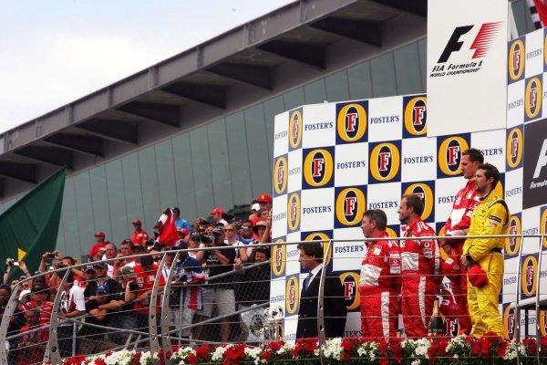 The subdued podium. Formula One World Championship, Rd 9, United States Grand Prix, Race, Indianapolis, USA, 19 June 2005.DIGITAL IMAGE
